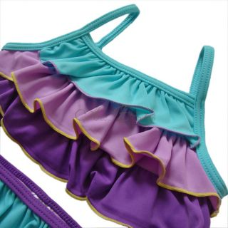 2pc Ruffle Layered Girl Swimsuit Kids Tankini Swimwear Swim Costume Sz 3 8 Y