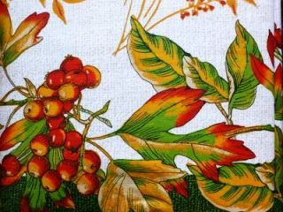 Thanksgiving Fall Primitive Leaves Border Vinyl Tablecloth Flannel Back All Size