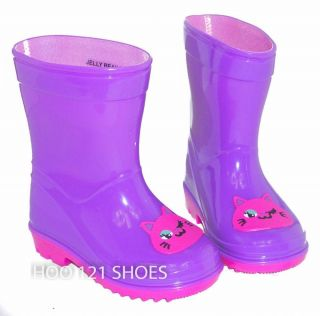 Girls Kids Kitty Cat Flat Galoshes Wellies Rubber Rain Boot Purple Toddler 4