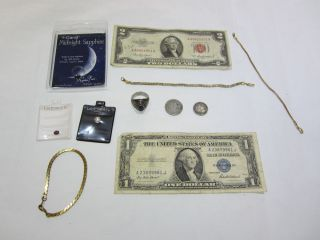 Junk Drawer Estate Find Silver Coin Old Paper Money Jewelry Mix Lot 11 PC