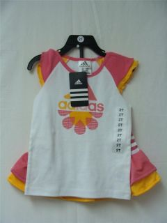 Adidas Kids Girls White Pink Orange Shirt Skirt Set in Various Sizes