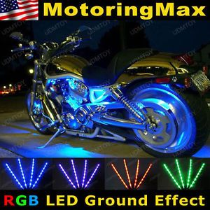 "4 x 12"" RGB 7 Color LED Knight Rider Ground Effect Light Kit for Motorcycle Bike"
