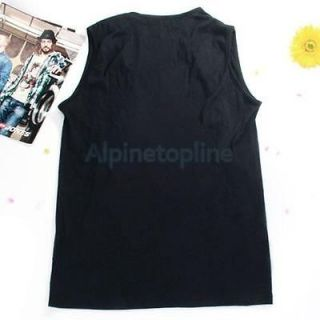 Mens Low Cut Casual Slim Vest Cowl Neck T Shirt Black