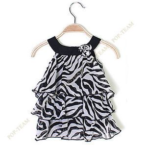 Baby Kid Toddler Girl Chiffon Dress Outfit Clothes Pettiskirt Tutu Zebra TYB1