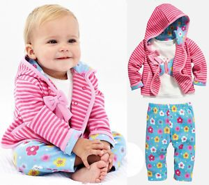 3pcs Baby Toddler Girl Kid Pink Bow Coat T Shirt Pants Outfit Set Suit Clothing