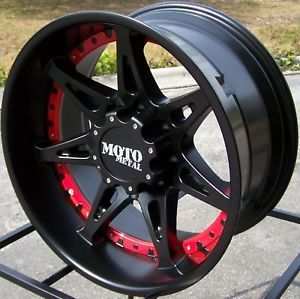 "18x9"" Black Red Moto Metal MO961 Wheels Rims Toyota Tundra Sequoia 4x4 5x150 TRD"