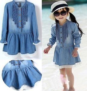 2 8T Girls Kids Baby Top Dress Jean Skirt Denim Ruffle Blue Flower Lace Clothing