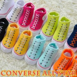 New Baby Infant Girl Boy Knitted Sneaker Booties Socks 0 6 M New Born Blue Pink