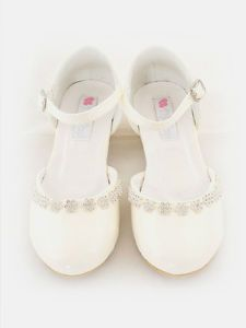 Girls Flower Rhinestones Dress Shoes Pageant Formal Wedding Party White Ivory