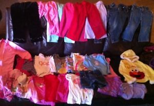 32 Piece Baby Girl Clothes Lot 2T and 3T Fall Winter Sweatshirts Pants Shirts
