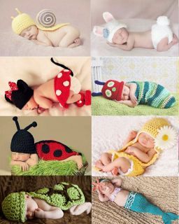 Newborn 12M Baby Girl Boy Crochet Knit Mermail Minnie Costume Photo Props Outfit