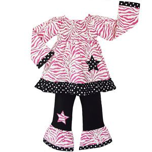 Baby Girls 2 3T Pink Zebra Stars Boutique Kids Clothing Outfit