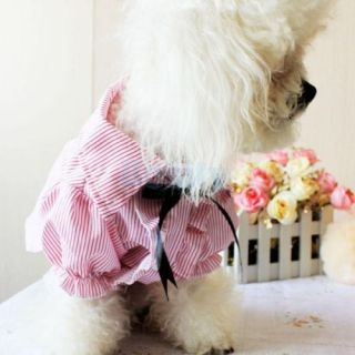 Cute Red Striped Pet Dog Puppy Shirt Spring Dress Shirt Clothes Apparel Size S