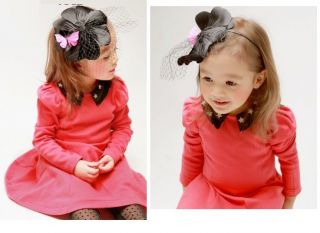 1 PC Toddler Kid Girls Red Star Cotton Skirt Long Sleeve Party Dress s 2 7