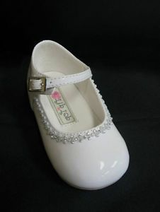 Clear Rhinestones Infant Toddler Baby Girls Dress Shoes Pageant Wedding Ivory