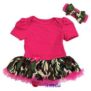 Baby Hot Pink Camo Pettiskirt Bodysuit Jumpsuit Tutu Bow Headband 2pc NB 18M