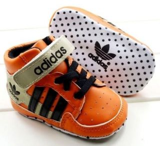 New Adidas Soft Sole Baby Boy Orange High Top Sneakers Crib Shoes Age 0 18 Mths