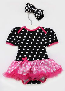 2pcs Newborn Baby Girl Infant Polka Dot Headband Romper Clothes Tutu Outfit 6 9M