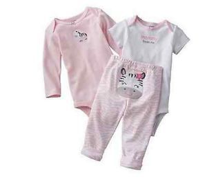 Carters Baby Girl Clothes 3 Piece Outfit Pink Zebra Bodysuit Pants 18 Months
