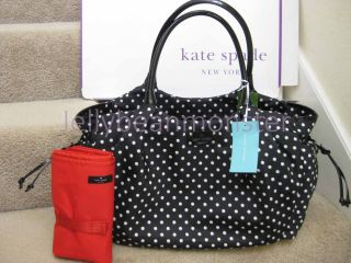 Kate Spade Stevie Spot Nylon Polka Dots Baby Shoulder Bag Diaper Travel Blk New