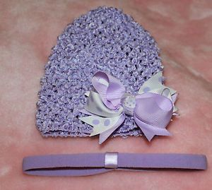 Infant Baby Small Beanie Waffle Hat Set Lavender White Knot Bow Clip Headband