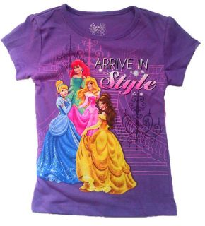 Disney Princess Girls Kids Tee Top Shirt Cinderella Belle Ariel Sleeping Beauty