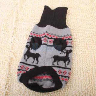 Black Grey Turtleneck Pet Puppy Dog Knit Sweater Deer Pattern Clothes Coat s M L