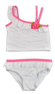 Penny M Toddler Girls White Gold 2pc Polka Dot Swim Suit Size 2T 3T 4T