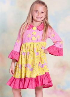 "New Baby Girls ""Yellow Pink"" Jelly The Pug Sz 12M Boutique Nature Lily Dress"