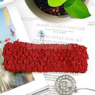 4X Red Elastic Baby Toddler Girls Knitted Crochet Headband for Bows Flowers Clip