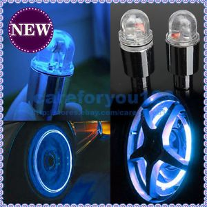 New 1 Pair LED Cycling Bike Bicycle Neon Car Wheel Tire Valve Caps Wheel Lights