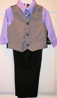 Boys 4pc Suit Set Gray Vest Stripe Tie Black Pants Purple Shirt Sz 18 Mon New