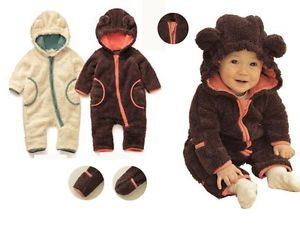 0 27m Baby Boy Girl Toddler Animal Bear Design Winter Snowsuit Warm Fluffy