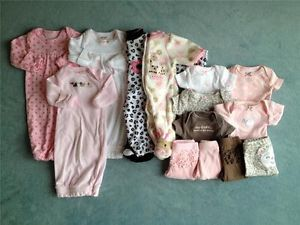 Carters Newborn Infant Baby Girl Spring Clothes Lot Preemie Layette Outfits