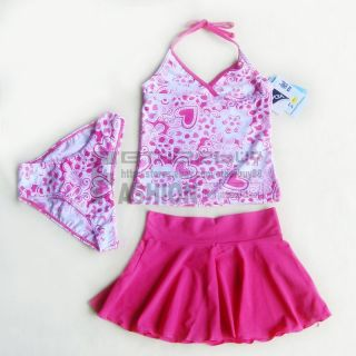 Girls Kids Pink Tankini Skirt 3 Pieces Swimsuit Swimwear Bathing Size 6 9 Years