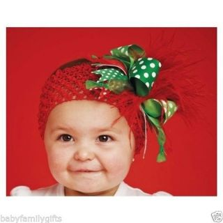 Mud Pie Christmas Baby Girl Crochet Ostrich Headbands Red Feathers 130285