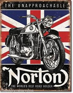 Vintage Replica Tin Metal Sign Poster Norton Motorcycle Bike Parts Forks HD 1953