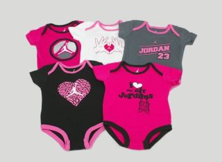 Nike Air Jordan 5 Pack Bodysuits One Piece Outfit Set Infant Baby Girls Pink