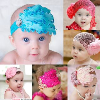 Cute Baby Toddler Soft Feather Flower Diamond Headband Headwear Hair Band New