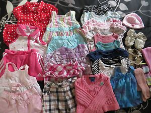 Baby Girl Clothes Lot Tops Pants Dress Sets Sandals Gymboree Gap Adidas 12 18 24