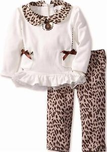 "New Girls ""Ivory Brown Leopard"" Size 4T Top Legging Pant Clothes"