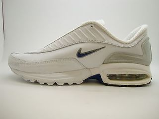 305623 111 Mens Nike Air Turbulence Leather White Blue Ribbon Soft Grey
