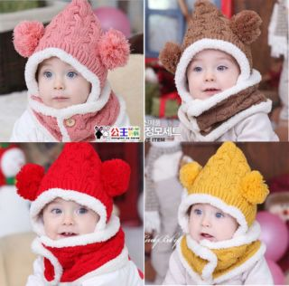 New Thicken Wool Warm Winter Girls Boys Baby Cap Kids Hats and Scarf Set 4colour