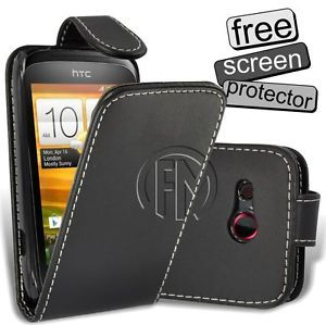 Black Flip Case Leather Case Cover Pouch for HTC Desire C