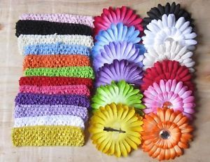 New Free P P Daisy Flower Crochet Headband Girl Baby Crystal Hair Clip Bow 12pcs