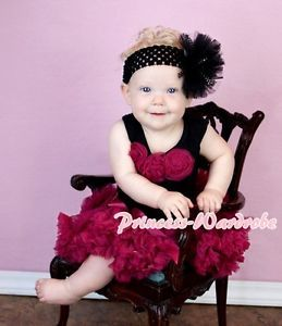 Newborn Baby Raspberry Pettiskirt Skirt Tutu Black Top Wine Red Rose Set 3 12M