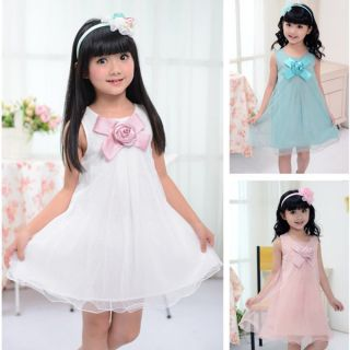 Elegent Baby Girls Kids Rose Flower Chiffon Princess Party Gown Formal Dress Hot