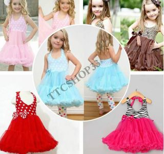Little Girl Cute 1pc Halter Tutu Skirt Dress Red Pink Blue Zebra Leopard 2 7Y