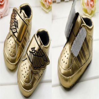 Cute Kid Baby Boys Infant Toddler Gold Wing Sneaker Soft Sole Crib Shoes Sneaker