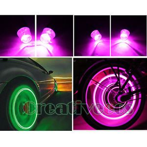 4X Car Motorcycle Wheel Tyre Tire Valve Caps Covers LED Lights Bulb Lamp Pink
